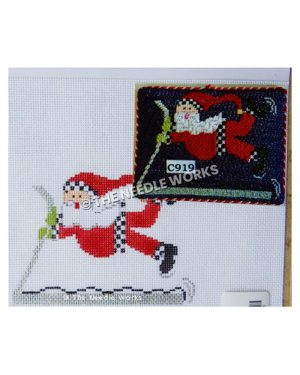 Santa flying in air hanging onto sled
