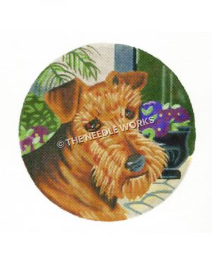 brown Scottie dog with purple flowers in background