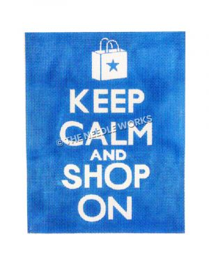 white words Keep Calm and Shop On on light blue background