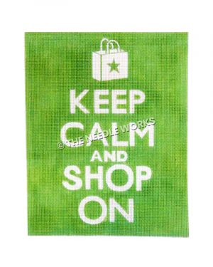 white words Keep Calm and Shop On on lime green background