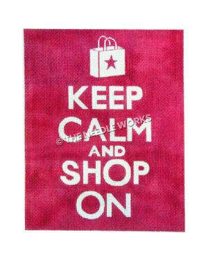 white words Keep Calm and Shop On on pink background