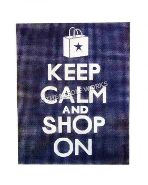 white words Keep Calm and Shop On on blue background