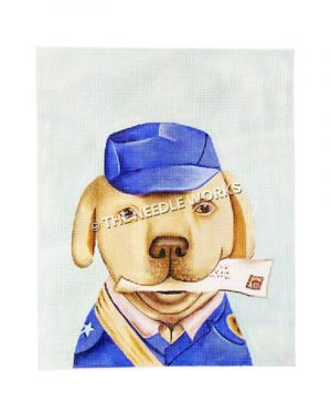 brown dog dressed as mailman with letter in mouth