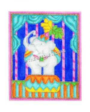 circus elephant on pedestal with blue and pink background
