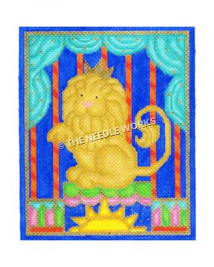 circus lion sitting on pedestal with blue and red background