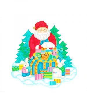 Santa in snow with bag of presents and bunnies