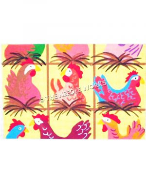 bright colored hens roosting