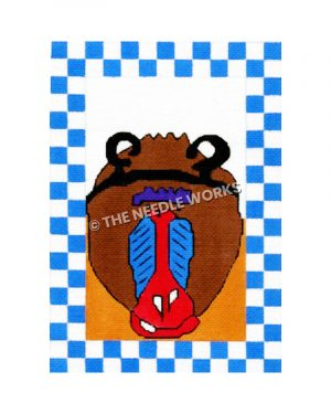 mandrill monkey face with blue and white checkered border