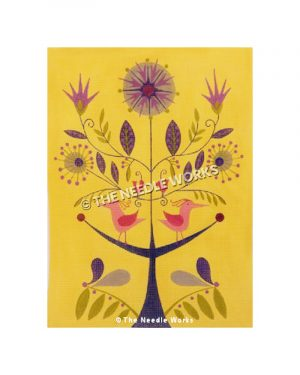 pink birds on a purple tree with flowers and yellow background