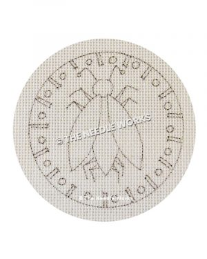 outline of beetle with geometric round border