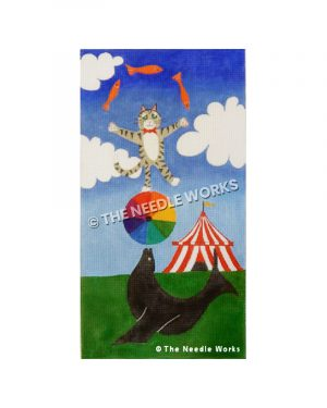 circus scene with seal balancing a ball with a cat juggling fish on top of the ball