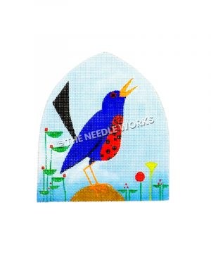 blue bird with blue background and flowers
