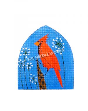 cardinal with blue background and white flowers