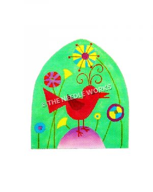 red bird with green background and flowers