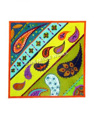 colorful stripes with paisley design