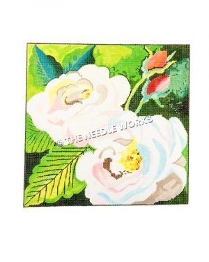 white roses with tulips on green background