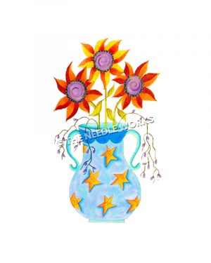 blue flower pot decorated with stars with sunflowers and purple flowers