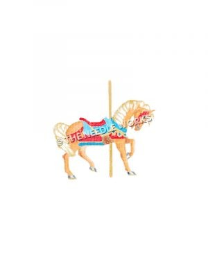 orange carousel horse with blue and red saddle