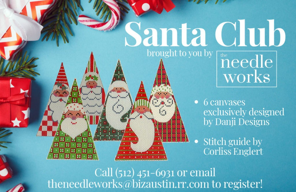 Santa Club canvases designed by Danji Designs and stitch guide by Corliss Englert