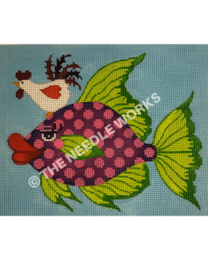 purple and pink polka dot fish with green fins and white chicken on head