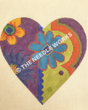 purple and green heart with orange, purple, blue flowers