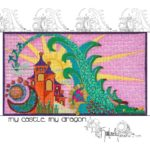 green dragon flying over orange and purple castle with yellow sun and blue, green and red moon on pink background