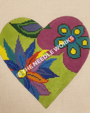 heart in green and purple with multi colored flowers