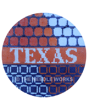 round ornament with orange, blue, and white circle patterns and Texas in white on orange stripe