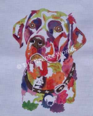 labrador face in colorful watercolor painting effect