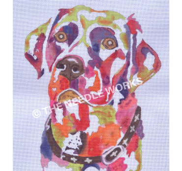 labrador face in colorful watercolor painting