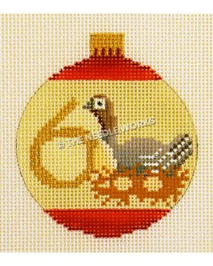 yellow and red ornament with goose and eggs and number 6 in gold