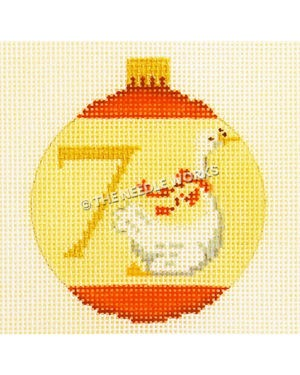 yellow and red ornament with swan and number 7 in gold