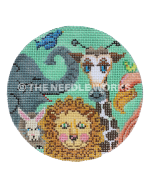 green round ornament with zoo animals