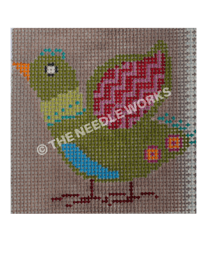 green bird with pink and purple wings and blue belly with lime green neck on gray background