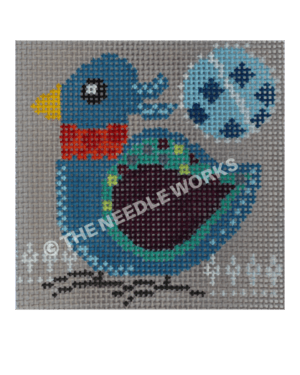 blue bird with green and dark blue wing and red neck on gray background with blue circle with dark blue dots in sky