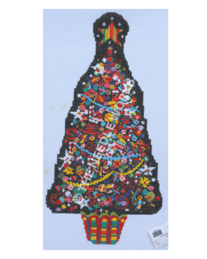 Christmas tree decorated with many colorful tiny ornaments and multi-colored striped star