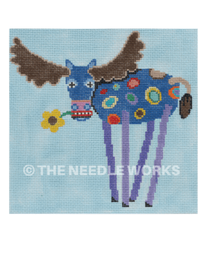 blue moose with colorful dots with long purple legs holding yellow flower in mouth on blue background