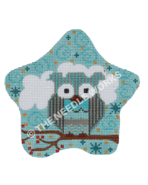 blue star ornament with owl sitting on branch with red and yellow flowers and white cloud
