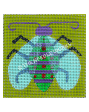 lime green square with green and purple striped flying bug with red dots and purple head with antennas