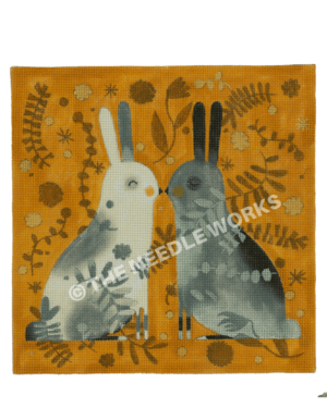 two bunnies in white and gray kissing on yellow background with flowers, branches and star shapes