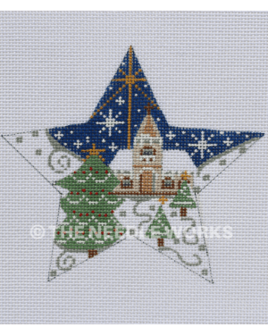 star with church in snowscape and Christmas tree with star of Bethlehem