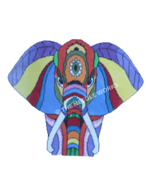 elephant head facing front in multi-color stripe decorations