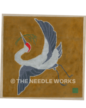 silver crane with dark blue wings flying with grass in beak on brown background