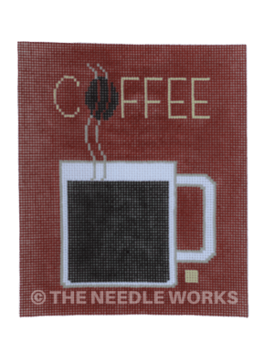 coffee in white mug with Coffee in yellow letters on dark brown background