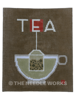 green tee in cup with Tea written in white above on gray background