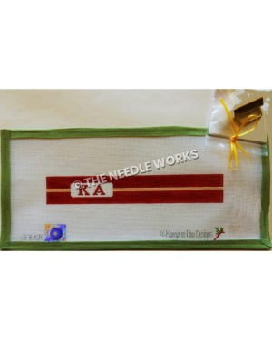maroon belt with kappa alpha letters and yellow stripe