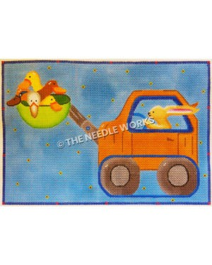 rabbit driving orange front end loader with five ducks in green bucket on blue background with yellow flowers