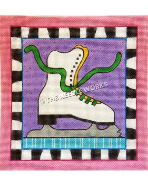 ice skate with green shoelaces on purple square background with zebra border and pink border
