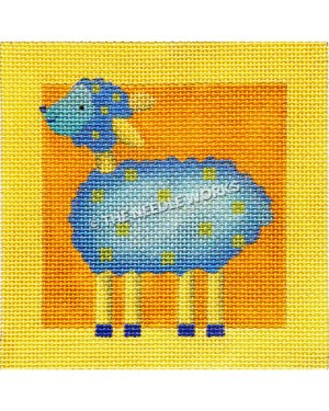 yellow and orange square with blue lamb and yellow legs with yellow dots