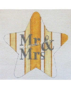 yellow and white striped star with Mr. and Mrs. in silver